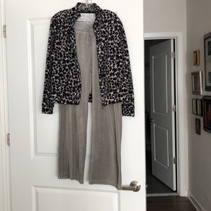 Gray velour pants with printed jacket